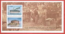 ARGENTINA MNH - 1989 Immigration - 150 + 200 ₳ - Michel AR BL39 - Blocchi & Foglietti