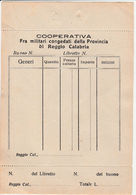 DOC3 ) REGGIO CALABRIA COOPERATIVA FRA MILITARI CONGEDATI 11 X 18 Cm - Unclassified