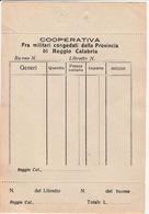 DOC3 ) REGGIO CALABRIA COOPERATIVA FRA MILITARI CONGEDATI 11 X 18 Cm - Non Classificati