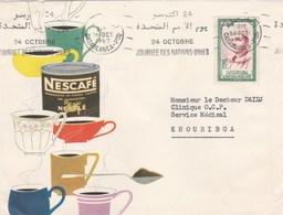 Lettre Illustrée Entête NESTLE Nescafé Flamme Journée Nations Unies Casablanca 24/10/1857 Pour Khouribka Maroc - Marokko (1956-...)