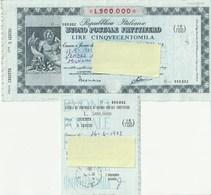 BUONO POSTALE FRUTTIFERO - DA L. 500.000 - CON CEDOLA - SERIE O - ANNO1982 - - Banque & Assurance