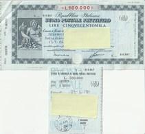 BUONO POSTALE FRUTTIFERO - DA L. 500.000 - CON CEDOLA - SERIE N - ANNO1981 - - Banque & Assurance
