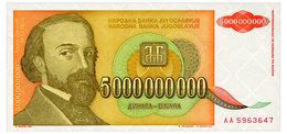 YUGOSLAVIA 5 MLRD DINARA 1993 Pick 135 Unc - Jugoslawien