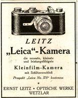 Original-Werbung/ Anzeige 1925 - LEICA KAMERA / LEITZ - WETZLAR - Ca. 65 X 80 Mm - Publicités