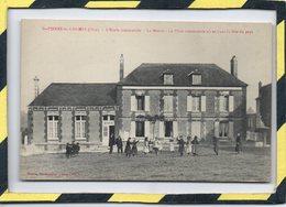CARTE RARE - DPT 60 - SAINT-PIERRE-ES-CHAMPS. ECOLE COMMUNALE - LA MAIRIE - PLACE COMMUNALE OU SE TIENT LA FÊTE DU PAYS - France