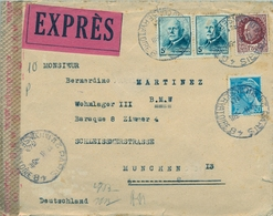1943 , FRANCIA , PARIS / CONSERVATOIRE - MUNICH , CORREO EXPRÉS , BANDA DE CIERRE DE CENSURA - Covers & Documents
