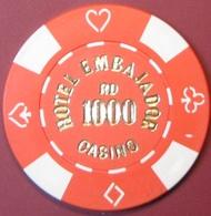 RD1000 Casino Chip. Hotel Embajador, Santo Domingo, Dominican Republic. G80. - Casino