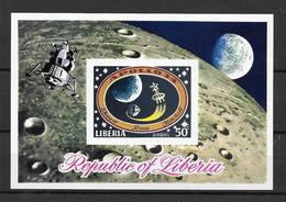 Liberia Bloc Lune Dentelé/imperf/ND Espace ** - Space