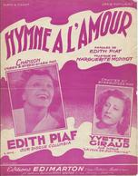 Partition Edith PIAF - HYMNE A L'AMOUR - 1949 - Musica & Strumenti