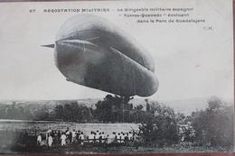 "DIRIGEABLE  MILITAIRE  ESPAGNOL  ""  TORRES  QUEVEDO  ""   DANS  LE  PARC  DE  GUADALAJARA         1908 - Guadalajara"