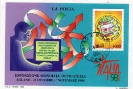 """PIA  -  ITALIE  -  1998  : Esp. Mond. Di Filatelia """"Italia  98"""" -Giornata Delle POSTE - Foglietto  -     (Yv  Bf 21 ) - 6. 1946-.. Repubblica"""