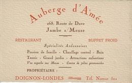 Publicité (14 X 9cm) - AUBERGE D'AMEE - 268, Route De Dave - JAMBE S/MEUSE - Propriétaire : DOIGNON-LONDES - Reclame