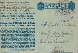 FRANCHIGIA POSTA MILITARE 163 1943 MODICA X NOVARA MEDAGLIA ORO LA SALA - 1900-44 Vittorio Emanuele III