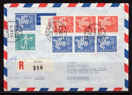 """SWITZERLAND 1961 - Registered Cover With 3 """"Europa Cept"""" Cmpt Set Posted From USTER To Argentina - Suisse"""