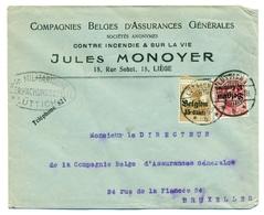 Belgique OC3 Et OC15 Sur Lettre De Liège Vers Bruxelles 10 Aug 1916 - Guerre 14-18