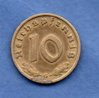 Allemagne  -  10 Reichspfennig 1938 G -- Km # 92 -  état  TB - [ 4] 1933-1945 : Third Reich