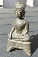 Boudha Assis Bronze Siam 17° Siècle - Asian Art