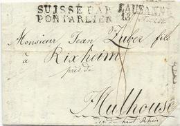 LETTRE 1815 AVEC CACHET D'ENTREE NOIR SUISSE PAR PONTARLIER - Marcophilie (Lettres)