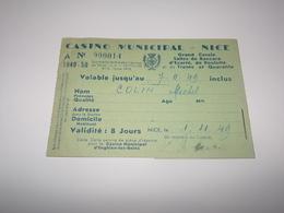 Casino Municipale De Nice Et Enghien Les Bains.Titre D Entée De 1949.Timbres Fiscaux. - Biglietti D'ingresso