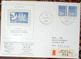 """Schweiz Suisse 1975:  Vignetten-Block """"30 JAHRE PAX"""" (1945-1975) Mit Zu 485 Mi 935 Yv 863 O ZÜRICH 5.4.75 - Columbiformes"""