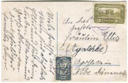 1921 Schöne Frankatur 2,5 Kronen + 50 Heller Auf AK Nach Dänemark - 1918-1945 1. Republik