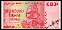 ZIMBABWE 100 MIO DOLLARS 2008 Pick 80 Unc - Zimbabwe
