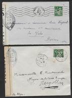 Guerre 40 - 2 Enveloppes Avec Cachets Et Bandes De Censure - Marcophilie (Lettres)