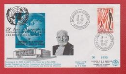 Enveloppe Premier Jour  /  Hommage à René Cassin / Strasbourg / 10-12-1973 - 1970-1979