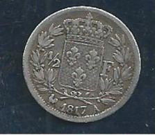 FRANCE ARGENT  1/2 FRANC 1817 A Tres Belle N21 - France