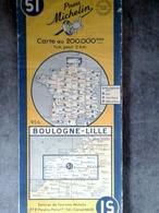 CARTE MICHELIN N°51 BOULOGNE LILLE 1958 MAPS KARTE CARTOLINA MAPS - Cartes Routières