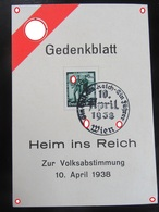 Postkarte Postcard Propaganda Gedenkblatt Anschluss 1938 Österreich - Germania