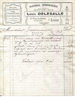 59.NORD.LILLE.MATERIEL D'IMPRIMERIE.LOUIS DELASSALLE 2 Bis RUE GODEFROY. - Imprimerie & Papeterie