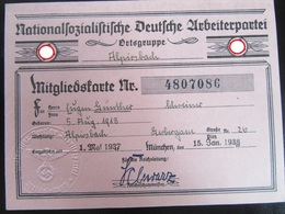 Mitgliedskarte NSDAP - Nazi Party Membership Card - Allemagne