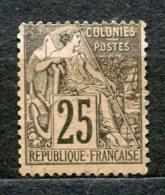 6503  COLONIES FRANCAISES   Emissions Générales   Taxe N° 54 (*) 25c Noir S. Rose   1881   TB - Taxes