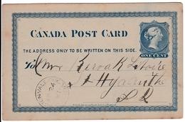Entier Postal Acton Vale Québec 1881 Canada One Cent - 1860-1899 Regering Van Victoria
