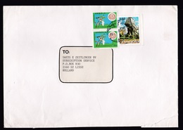 Angola: Cover To Netherlands, 1980s, 3 Stamps, Rock Formation, Flower, Rare Real Use (roughly Opened) - Angola