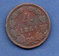 Autriche    - 4 Kreuzer 1861 A     - Km # 2194-  état  TB - Autriche