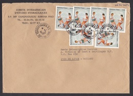 Burkina Faso: Cover To Netherlands, 1987, 6 Stamps, World Championship Soccer, Football, Rare Real Use! (roughly Opened) - Burkina Faso (1984-...)