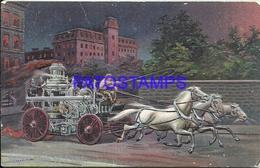 92513 US ART EMBOSSED FIREMAN ENGINE GOING TO A FIRE BREAK POSTAL POSTCARD - Estados Unidos