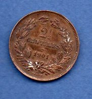 Luxembourg   - 2 1/2 Centimes 1901      - Km # 21-  état  TTB - Luxembourg