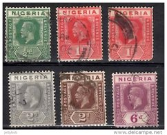 NIGERIA 1921 KGV 6 Values (Wmk: Script CA) Used - Nigeria (...-1960)