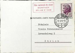 Schweiz Suisse 1946:Fête Cantonale De Chant MONTHEY Zu 275 Mi 469 Yv 427 Mit Autopost-o 25.V.46 - Musik