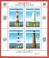 ARGENTINA MNH - 1992 IBEROPRENFIL '92 - Lighthouses - 4 X 0,38 $ Peso - Michel AR BL52 - Blocchi & Foglietti