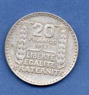 Turin   - 20 Francs 1937     --  état  TTB+ - France