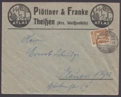"""Mi-Nr. 355, EF, Dek. Werbebrief """"Plötter&Franke Theißen Krs. Weißenfels"""" - Deutschland"""