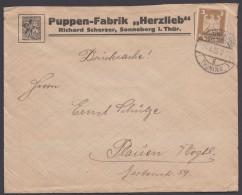 """Mi-Nr. 355, EF Auf Werbebrief """"Sonneberg, Puppen-Fabrik Herzlieb"""", 1925 - Deutschland"""