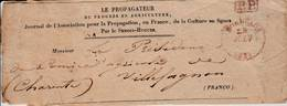 """Bordeaux - Cachet  P.P. Rouge Sur Bande De Journal """"Le Propagateur Du Progrès En Agriculture"""" - Marcofilie (Brieven)"""