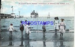 92524 US NEW YORK NEAR BUFFALO AT CRYSTAL BEACH STEAMER AMERICANA SHIP & CHILDREN DAMAGED POSTAL POSTCARD - Ohne Zuordnung