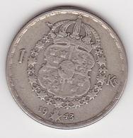1 Krone Münze Aus Schweden (vorzüglich) 1943 Silber - Schweden