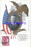 92529 US POLITICA PRESIDENTE THEODORE ROOSEVELT ART FLAG & EAGLE CIRCULATED TO ARGENTINA POSTAL POSTCARD - Estados Unidos